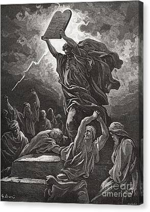 Ten Commandments Canvas Print - Moses Breaking The Tablets Of The Law by Gustave Dore