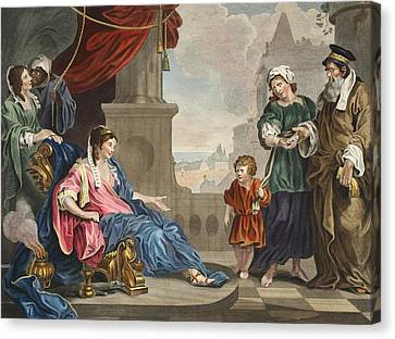 Moses Brought To Pharoahs Daughter Canvas Print by William Hogarth