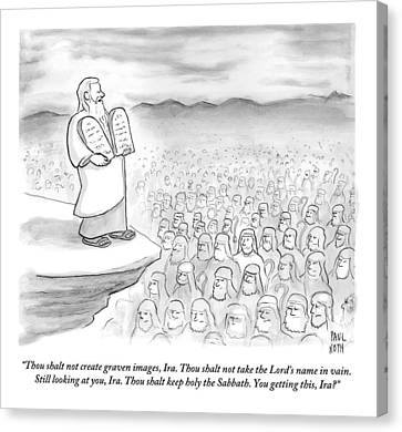 Ten Commandments Canvas Print - Moses Recites The Ten Commandments To An Audience by Paul Noth