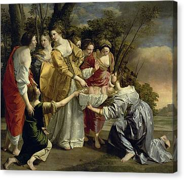 Moses Rescued From The Nile, C.1630 Oil On Canvas Canvas Print by Orazio Gentileschi