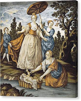 Moses Saved From The Water. 18th C Canvas Print by Everett