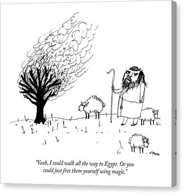 Moses Talks To The Burning Bush Canvas Print by Edward Steed