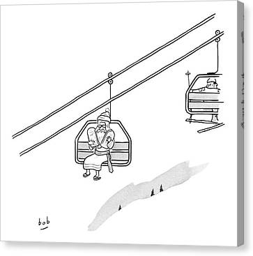 Ten Commandments Canvas Print - Moses Travels Down A Mountain On A Ski-lift by Bob Eckstein