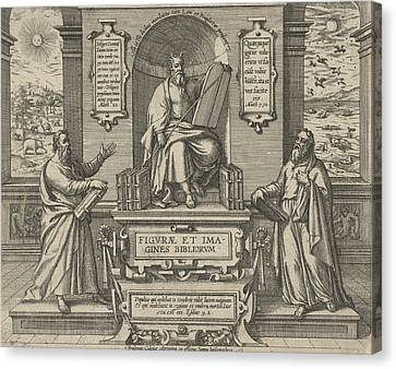 Moses With The Law In The Company Of Two Prophets Canvas Print by Johann Bussemacher