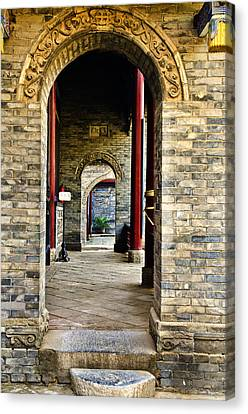 Canvas Print featuring the photograph Moslem Door Xi'an China by Sally Ross