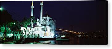 Mosque At The Waterfront Near A Bridge Canvas Print by Panoramic Images