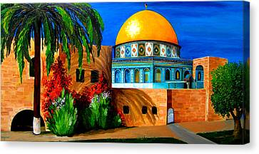 Sacred Artwork Canvas Print - Mosque - Dome Of The Rock by Patricia Awapara