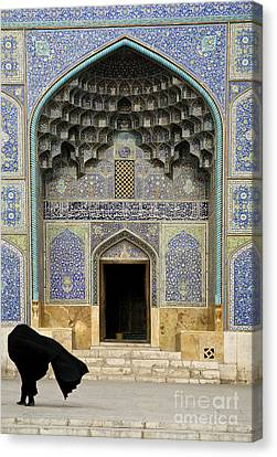 Mosque Door In Isfahan Esfahan Iran Canvas Print