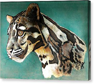 Canvas Print featuring the painting Most Elegant Leopard by VLee Watson