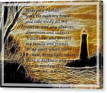 Most Powerful Prayer With Lighthouse Scene Canvas Print by Barbara Griffin