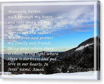 Most Powerful Prayer With Winter Scene Canvas Print by Barbara Griffin