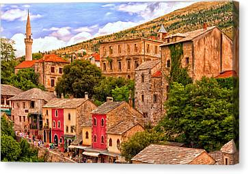 Canvas Print featuring the painting Mostar by Michael Pickett