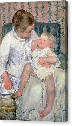 Mother About To Wash Her Sleepy Child Canvas Print by Mary Stevenson Cassatt