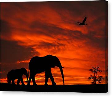 Mother And Baby Elephants Sunset Silhouette Series Canvas Print