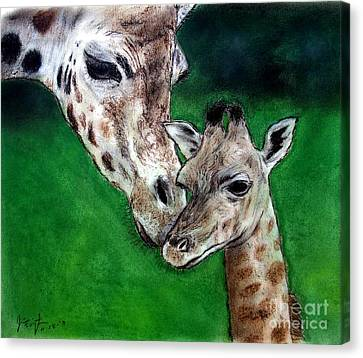 Mother And Baby Giraffe Canvas Print by Jim Fitzpatrick