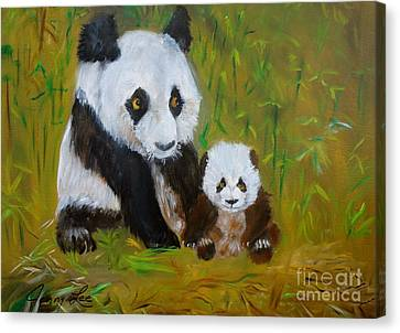 Canvas Print featuring the painting Mother And Baby Panda by Jenny Lee