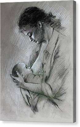 Canvas Print featuring the drawing Mother And Baby by Viola El