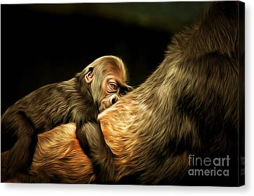 Mother And Child 20150210brun Canvas Print by Wingsdomain Art and Photography