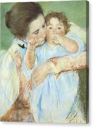 Mother And Child Against A Green Background Canvas Print by Mary Cassatt