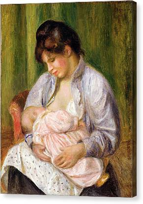 Maternity Canvas Print - Mother And Child by Pierre Auguste Renoir