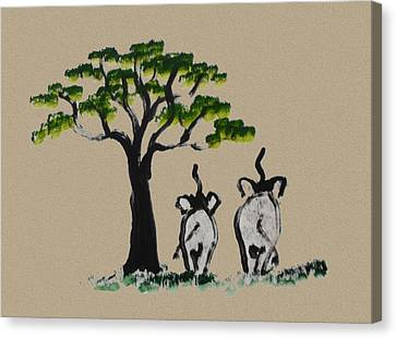 Yellow Elephant Canvas Print - Just The Two Of Us - Brown by Colin Smeaton