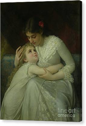 Mother And Child Canvas Print by Emile Munier