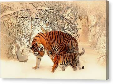 Mother And Child Snow Frolic  Canvas Print by Pixabay