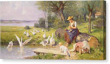 Mother And Child With Geese Canvas Print by Adolf Ernst Meissner