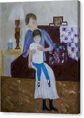 Canvas Print featuring the painting Mother And Daughter by Aleezah Selinger