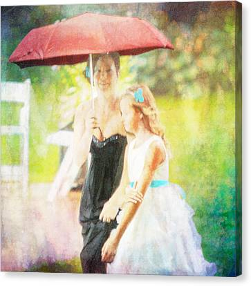 Mother And Daughter In The Garden Canvas Print