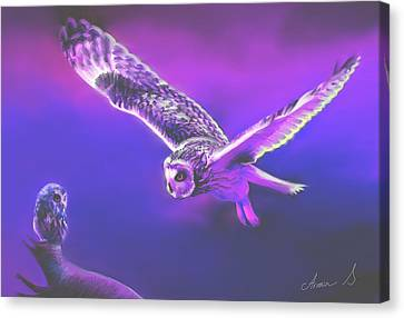 Mother And Daughter Owl Spirit. Canvas Print by Armin Sabanovic