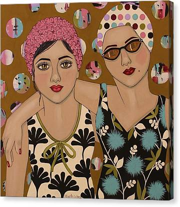 Beauty Mark Canvas Print - Mother And Daughter by Stephanie Cohen