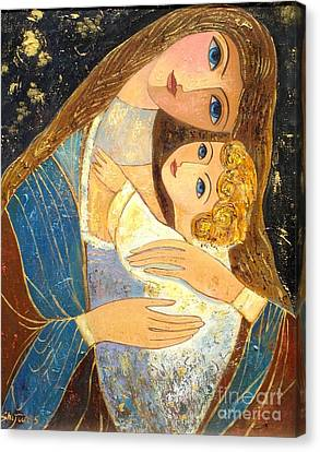 Mother And Golden Haired Child  Canvas Print by Shijun Munns