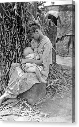 1916 Canvas Print - Mother Breast Feeding A Baby by Underwood Archives