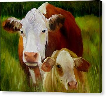 Canvas Print featuring the painting Mother Cow And Baby Calf by Cheri Wollenberg