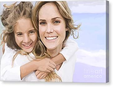 Canvas Print featuring the painting Mother Daughter Portrait   by Tim Gilliland