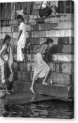 Mother Ganges Monochrome Canvas Print by Steve Harrington
