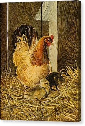 Canvas Print featuring the painting Mother Hen by Steve Spencer