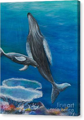 Mother Humpback And Her Calf Canvas Print by John Garland  Tyson