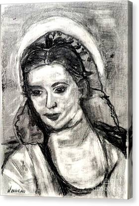 Canvas Print featuring the painting Mother Mary-let It Be by Helena Bebirian