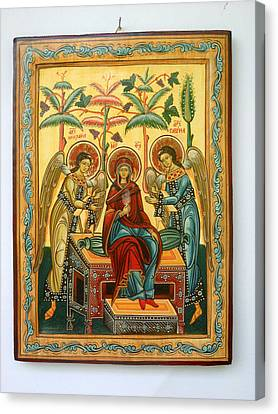 Mother Of God In Heaven With The Archangels Hand Painted Holy Orthodox Wooden Icon Canvas Print by Denise Clemenco