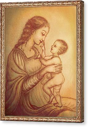 Madonna Canvas Print - Mother Playing With Her Child by Ananda Vdovic