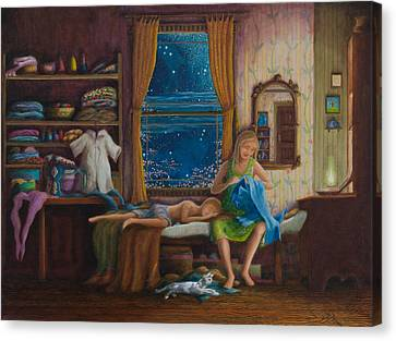 Canvas Print featuring the painting Mother Sewed My First Blue Jeans by Matt Konar