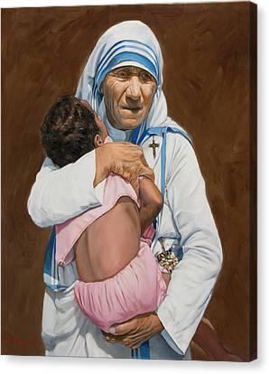 Mother Teresa Holding A Child Canvas Print by Dominique Amendola