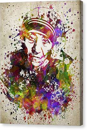 Mother Teresa In Color Canvas Print by Aged Pixel