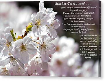 Mother Teresa Said Canvas Print by Tikvah's Hope