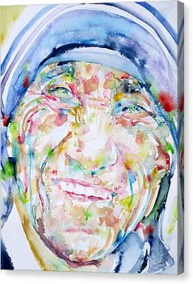 Mother Teresa - Watercolor Portrait Canvas Print by Fabrizio Cassetta