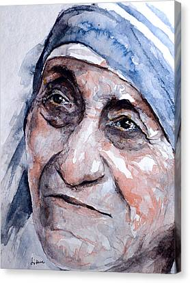 Mother Theresa Watercolor Canvas Print by Laur Iduc