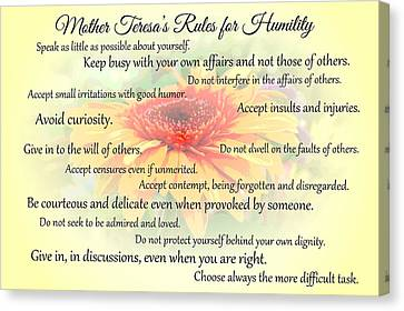 Mother Theresa's Rules For Humility Canvas Print by Jocelyn Friis