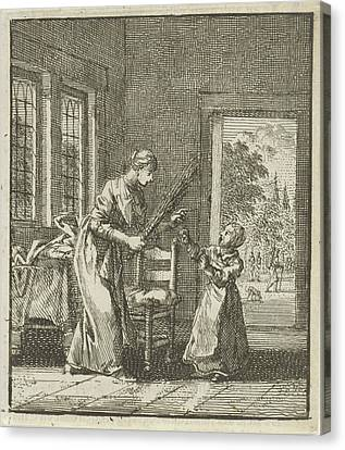 Threatening Canvas Print - Mother Threatens To Punish Her Child With Rod Blows by Jan Luyken And Wed. Pieter Arentsz (ii) And Cornelis Van Der Sys